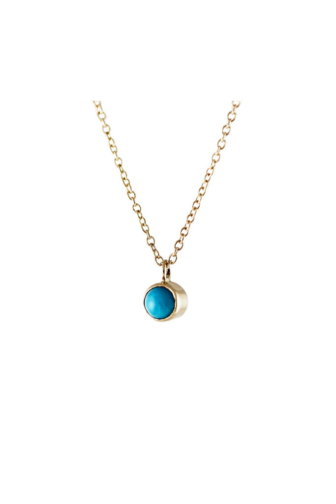Lumo Tiny Gold Turquoise Bezel Necklace