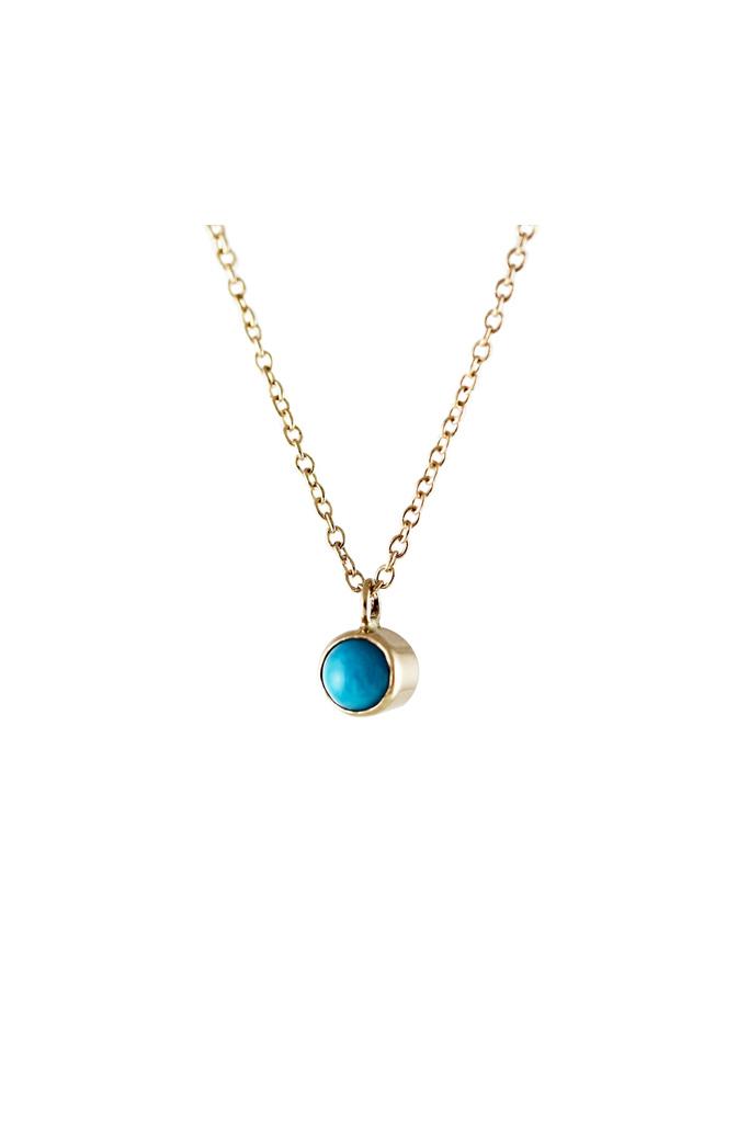 Lumo Lumo Tiny Gold Turquoise Bezel Necklace