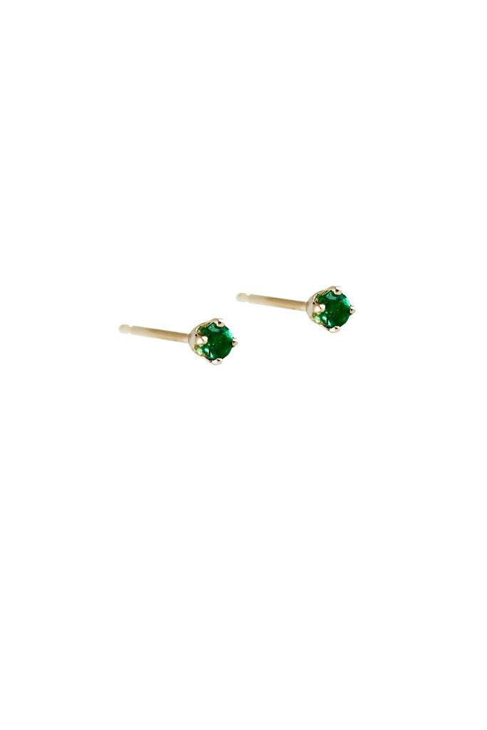 Lumo Tiny Gold Emerald Studs Pair