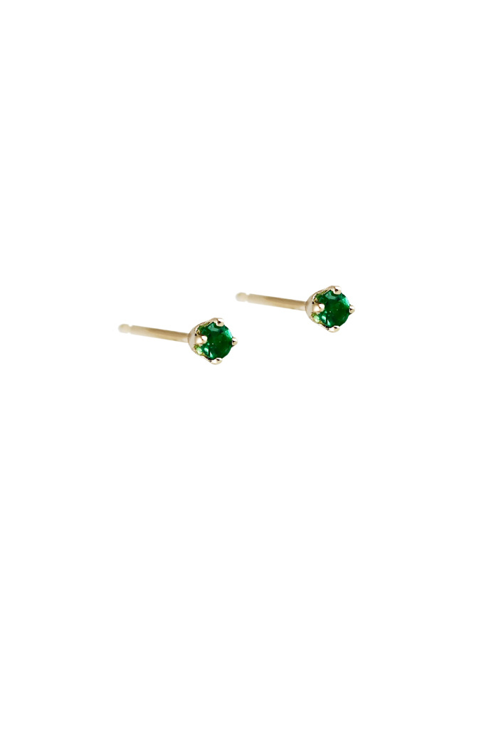 Lumo Tiny Gold Emerald Studs Pair