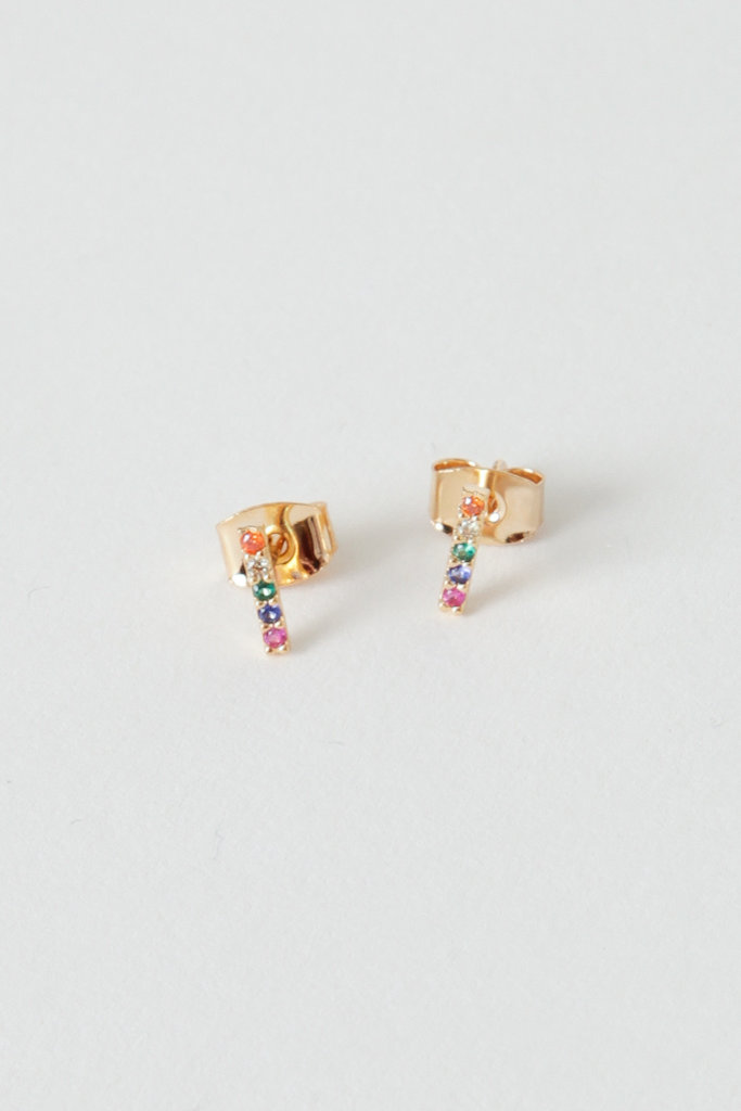 Tai Gold-Rainbow GF/CZ Stick Earring