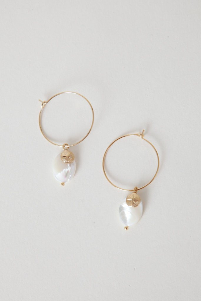 Polder Hoop Mother Of Pearl Earrings