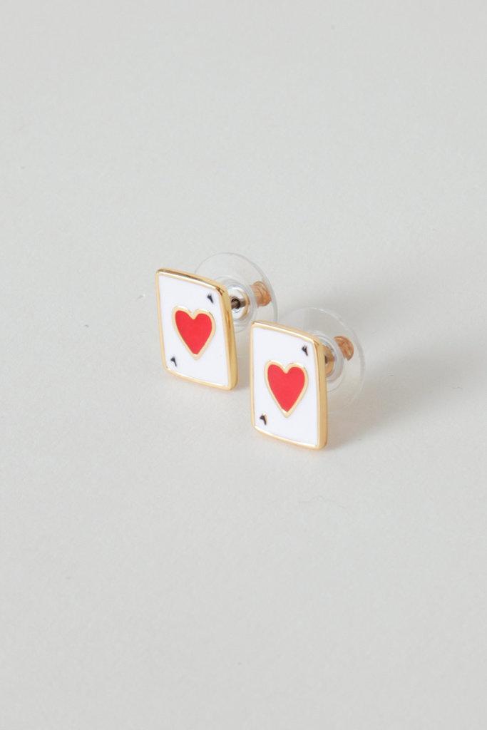 Les Nereides Gold Filled Heart Card Enamel Studs