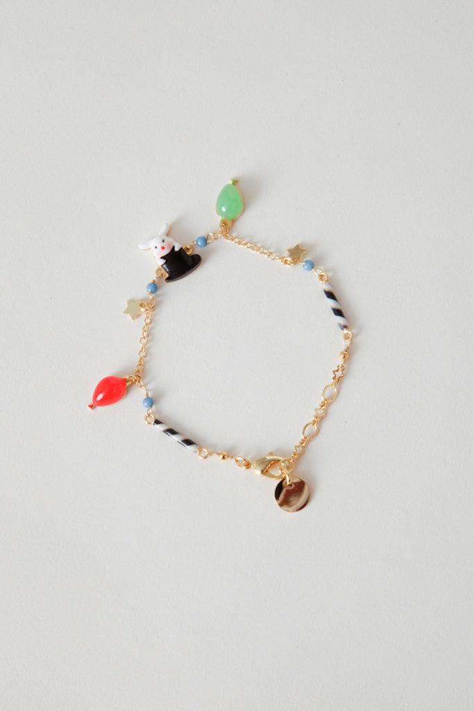 Les Nereides Gold Filled Enamel Circus Charm Bracelet