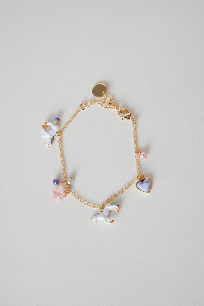 Les Nereides Gold Filled Enamel Unicorn Charm Bracelet