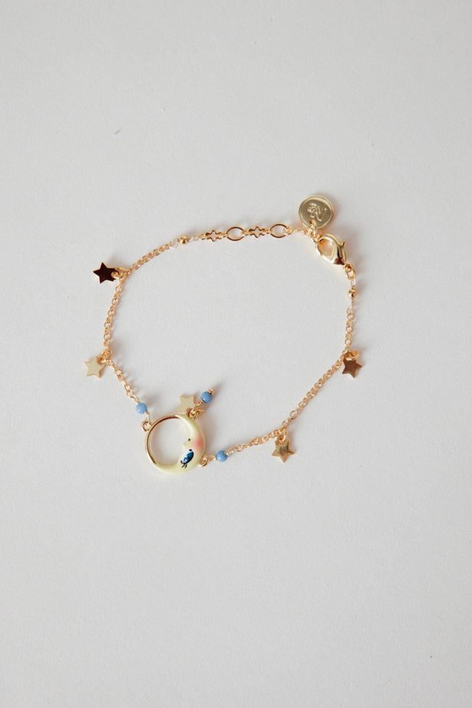 Les Nereides Gold Filled Moon & Stars Enamel Charm Bracelet