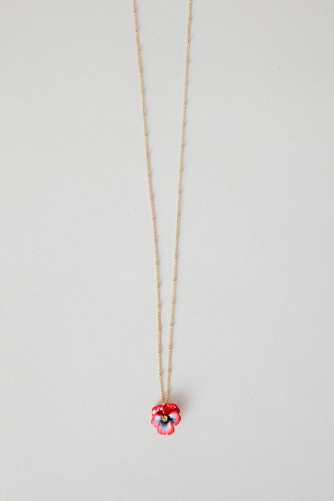 Les Nereides Gold Plated Brass Enamel Pansy Pendant Necklace