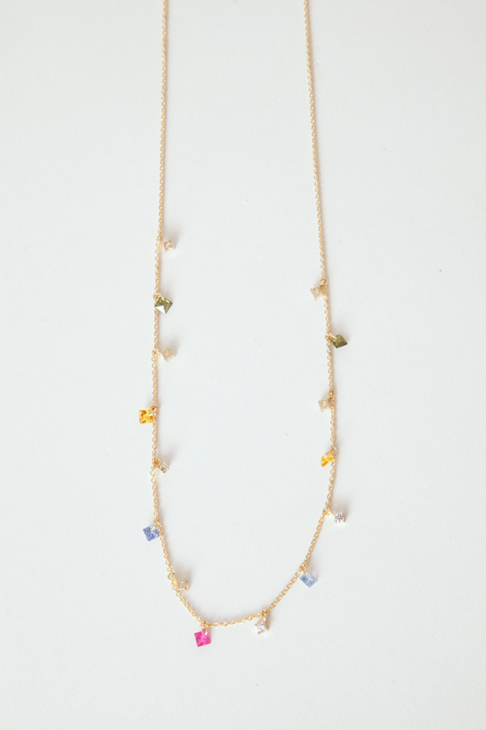 Tai Gold filled cz rainbow gem dangle necklace