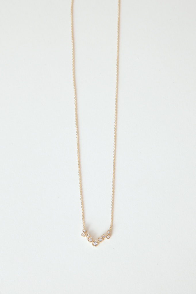 Gold Filled Chain Necklace with mini CZ cluster