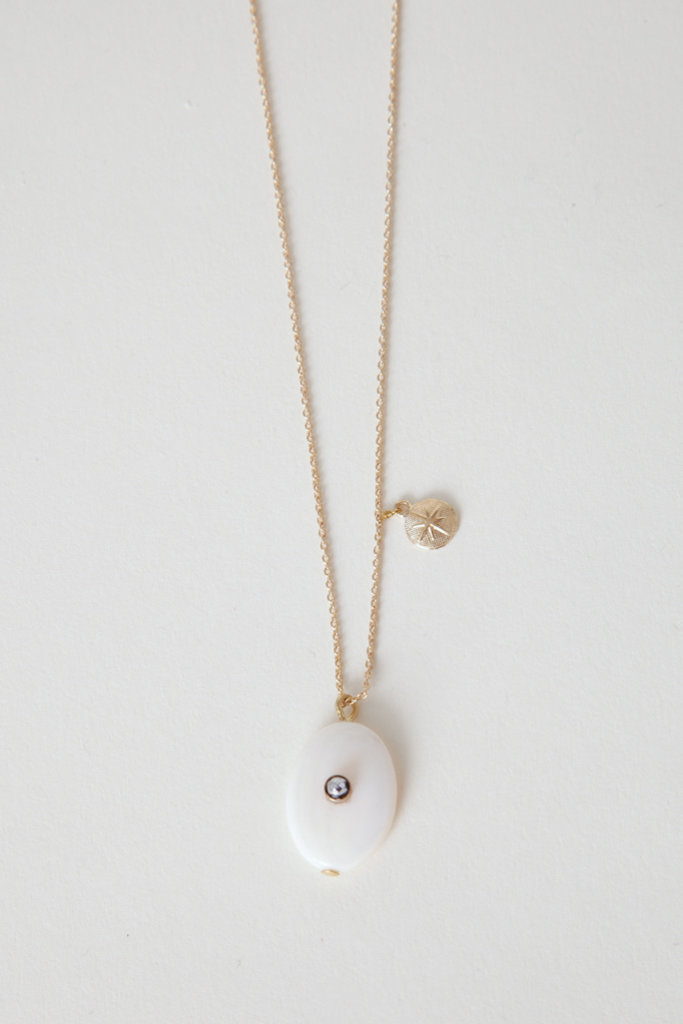 Mother Of Pearl Pendant Necklace Brass