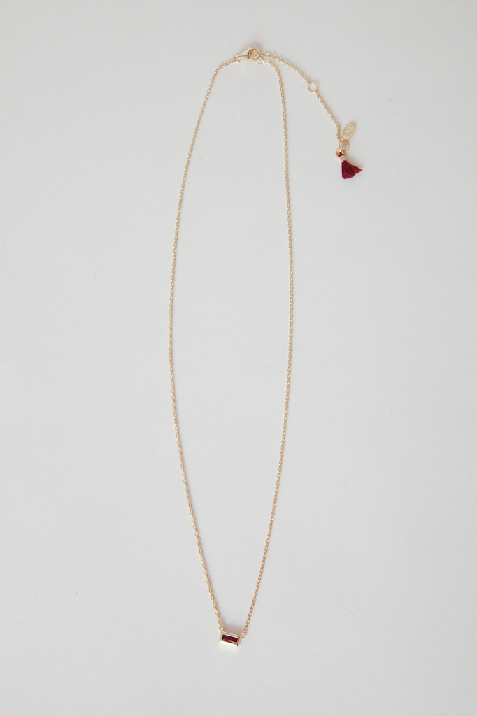 shashi Gold Filled Ruby baguette Necklace