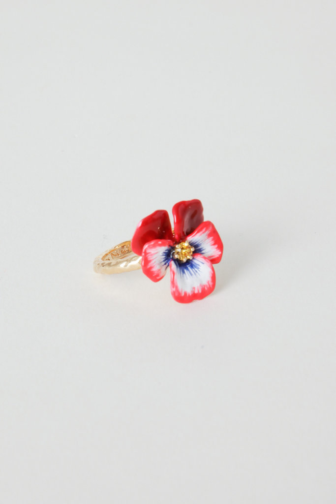 Les Nereides Gold Plated Brass Enamel Pansy Ring