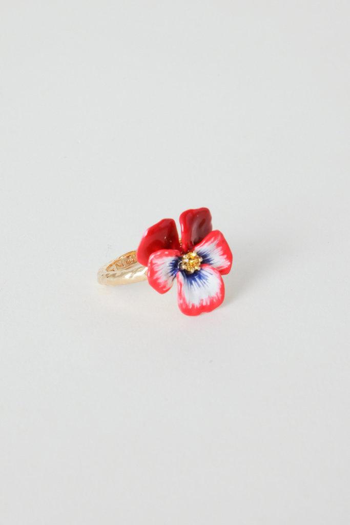 Les Nereides Les Nereides Gold Plated Brass Enamel Pansy Ring