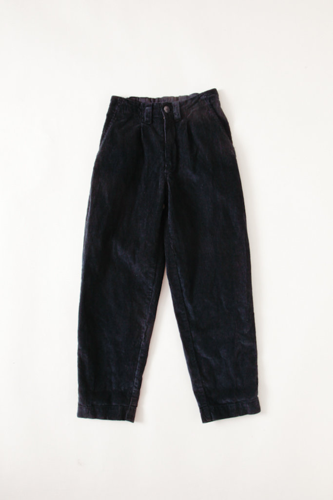 Navy Corduroy Pants With Elasticized Waist