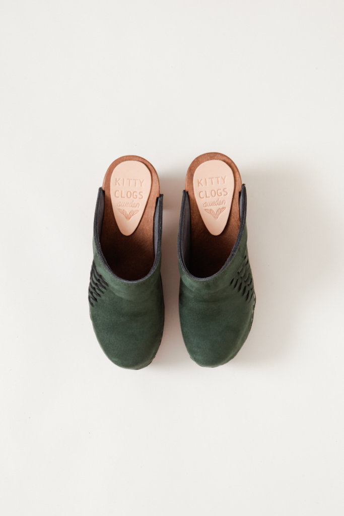 Kitty Clogs Hunter Green Nubuck Slide Clogs