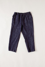 Navy Linen Tapered Pants with Elasticated Waist
