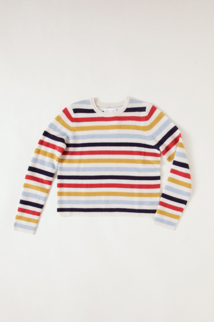 Velvet Multi-Colored Stripe Cashmere Crew Neck long sleeve Sweater