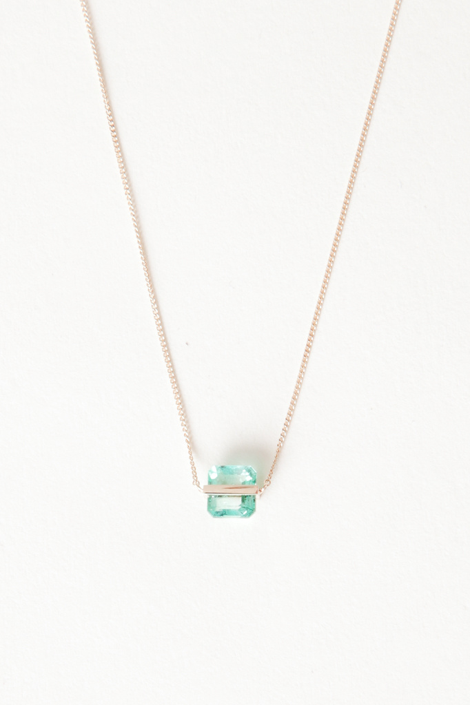 Januka Square Emerald Necklace with Gold Chain