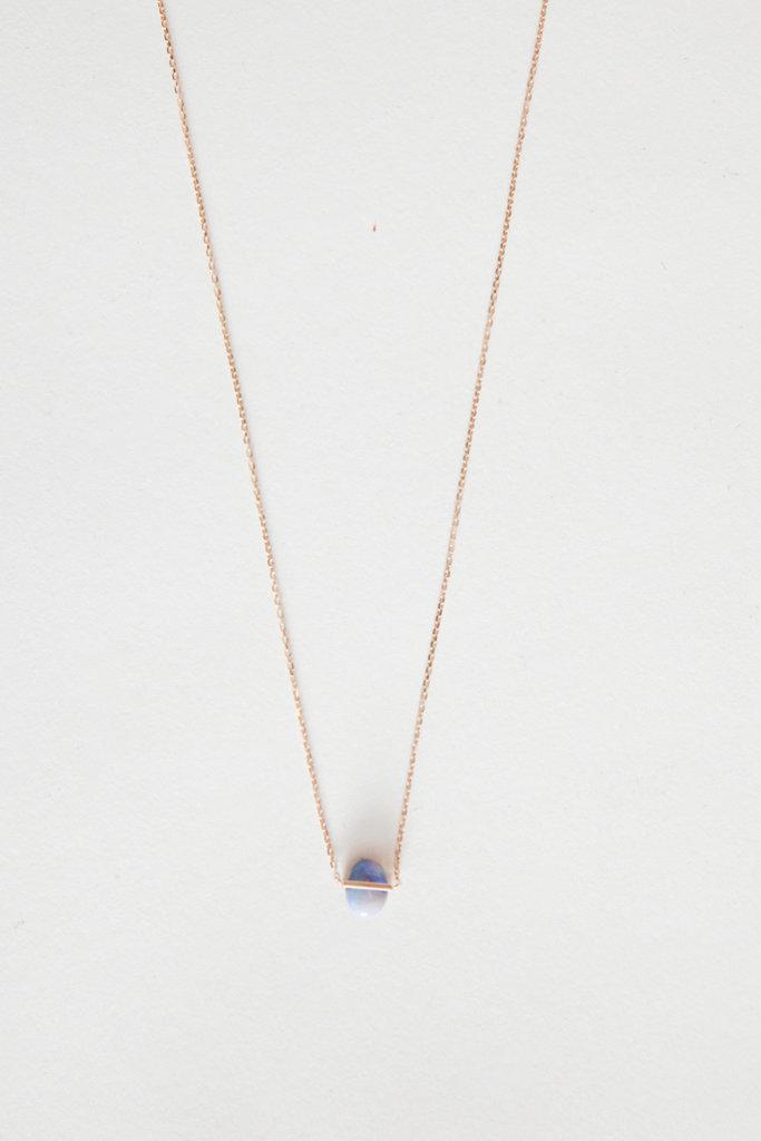 Januka Small Oval Opal Gold Necklace