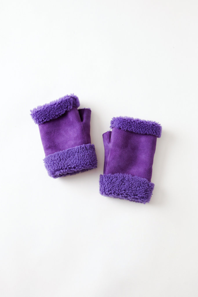 Toasties Purple Fingerless  Shearling Mittens