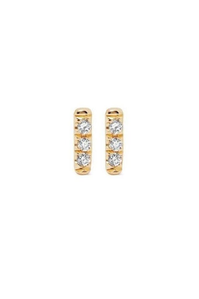 Jennie Kwon White Diamond Gold Bar Stud Earrings