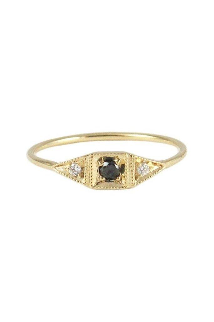 Jennie Kwon 14KT gold Mini Deco Point Ring with black Diamond