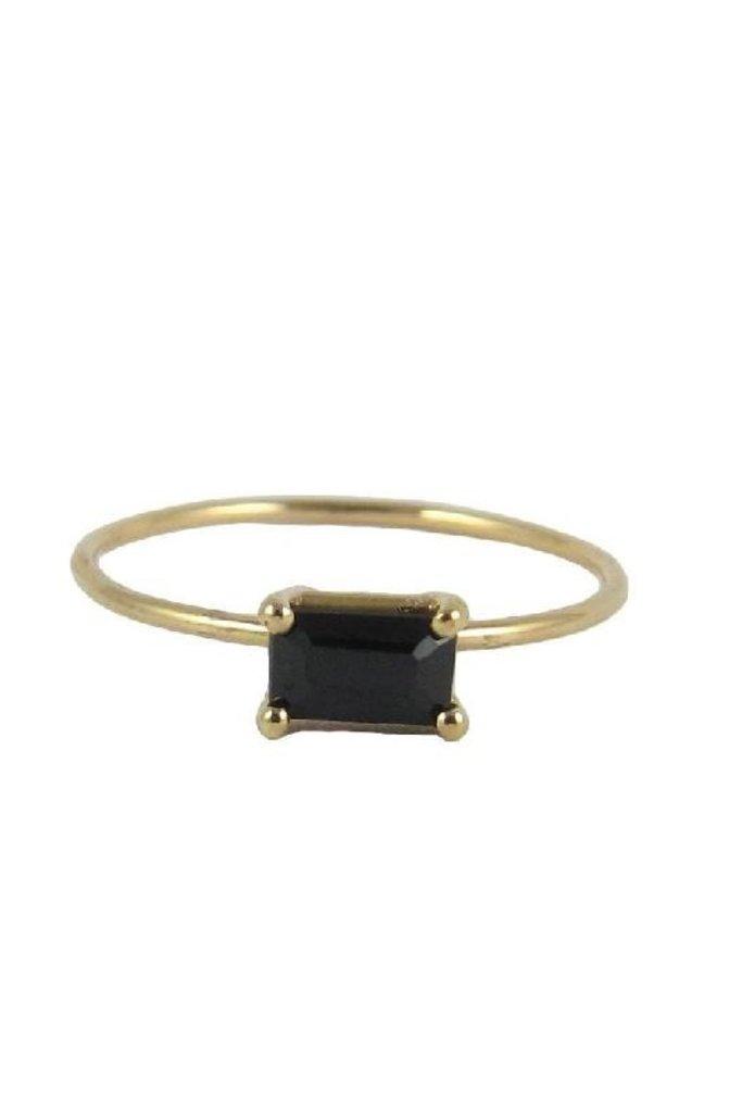 Jennie Kwon Jennie Kwon 14kt  Black Onyx Baguette Setting Ring