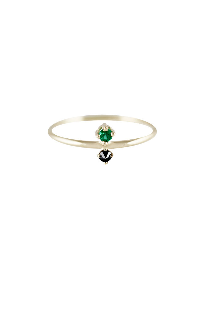 Lumo emerald & Black diamond gold ring