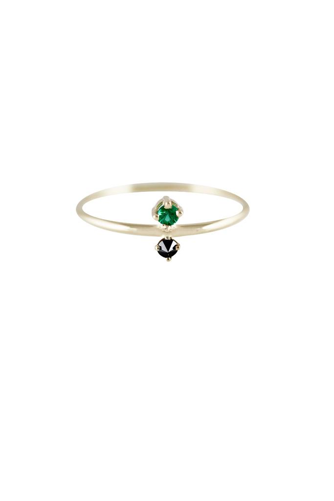 Lumo emerald & Black diamond gold ring