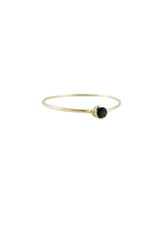 Lumo Black diamond stacking gold ring