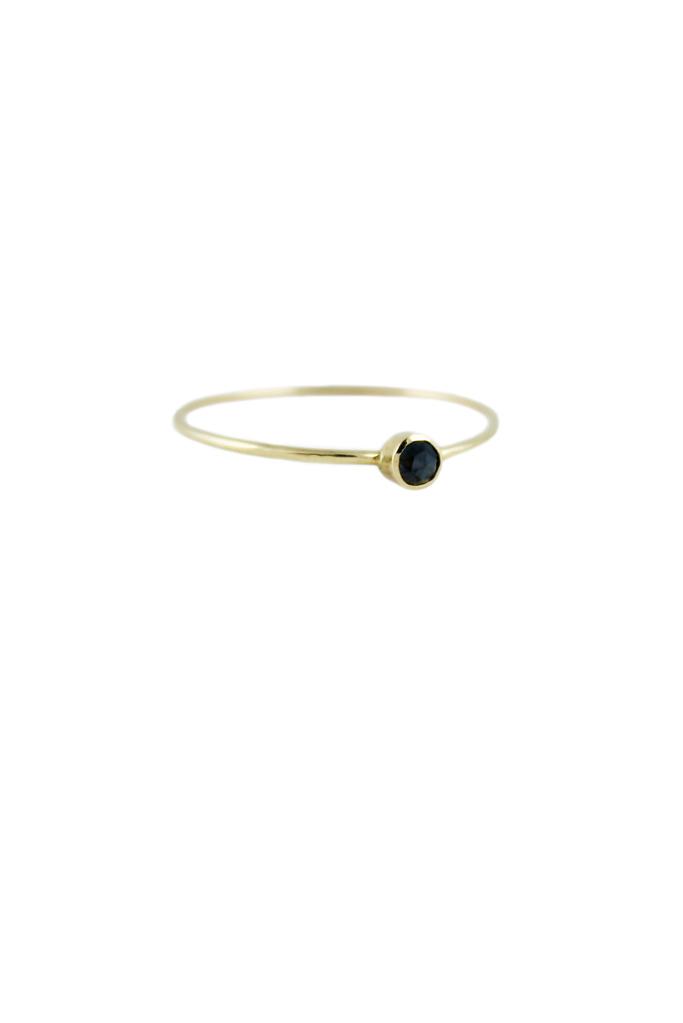 Lumo Black diamond stacking gold ring