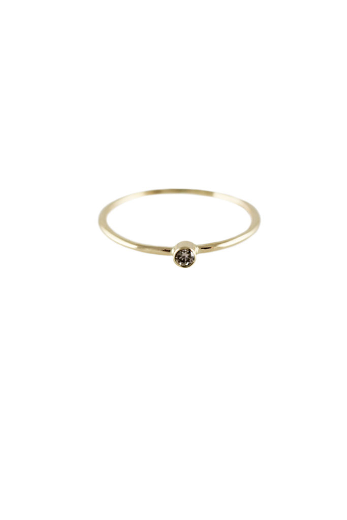 Lumo Cognac Diamond gold stacking Ring