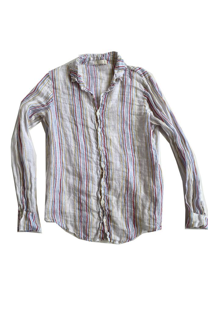 Rainbow Striped Linen Shirt
