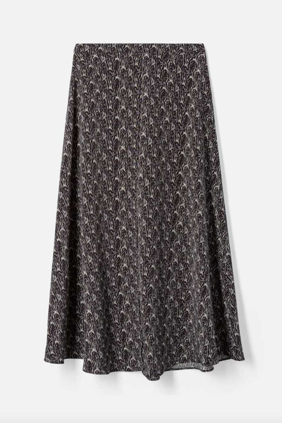 vanessa Bruno High Waisted Midi Skirt with Front Slit in Black and White Patterned Print