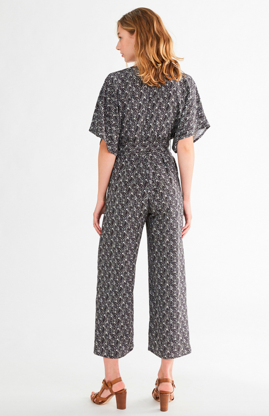 vanessa Bruno V-Neck Short Sleeve Jumpsuit with Self Tie Waist