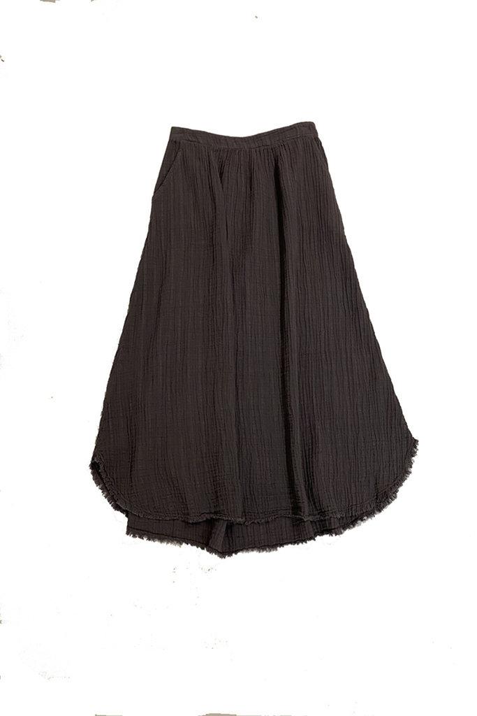 Midi Cotton Frayed Skirt