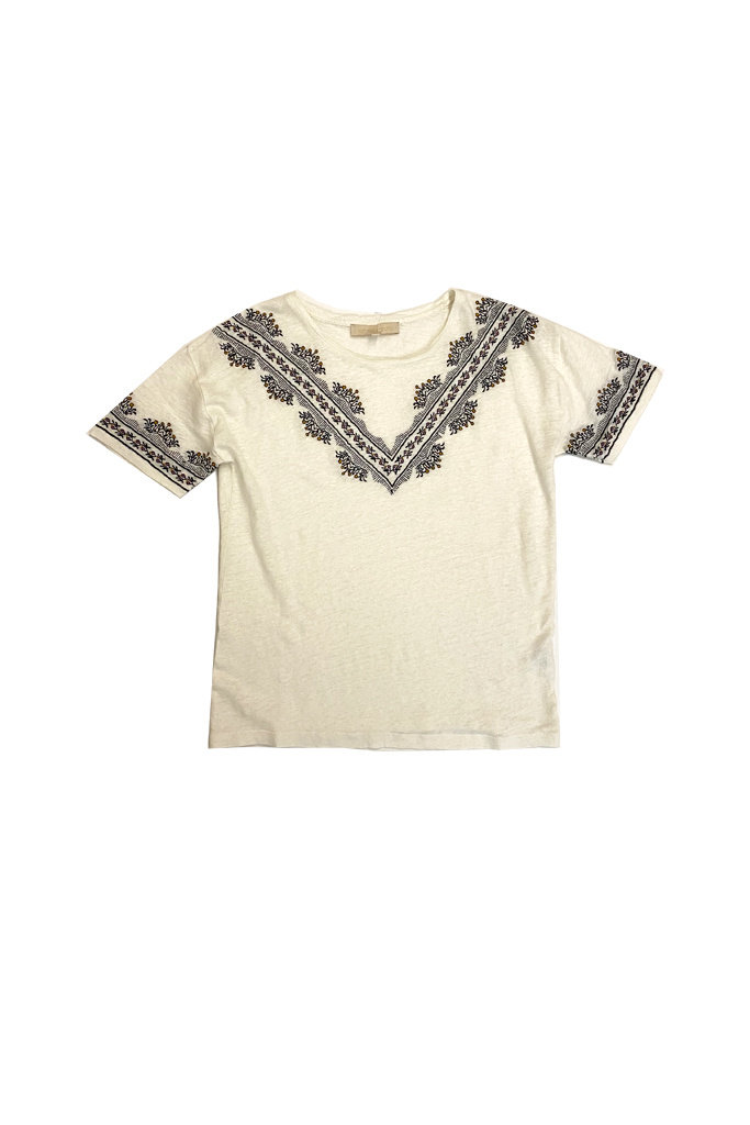 vanessa Bruno Ecru Linen Tee with Embroidery