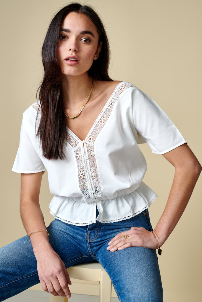 Bellerose White Peasant-Style Top with Lace Trim