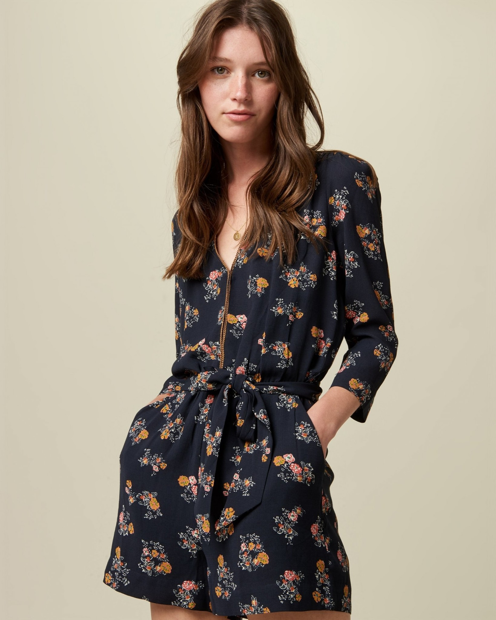 Sessun Hirosaki V-Neck Romper with Self-Tie Waist