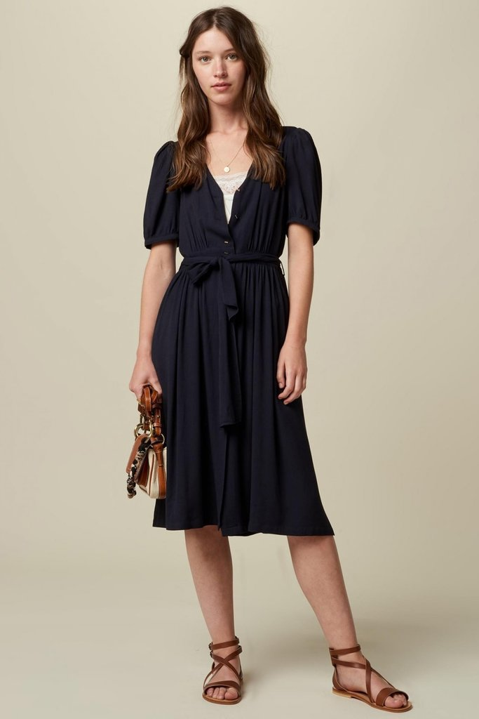 Sessun Short Sleeve Midi Dress with Self-Tie Belt