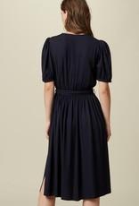 Short Sleeve Midi Dress with Self-Tie Belt