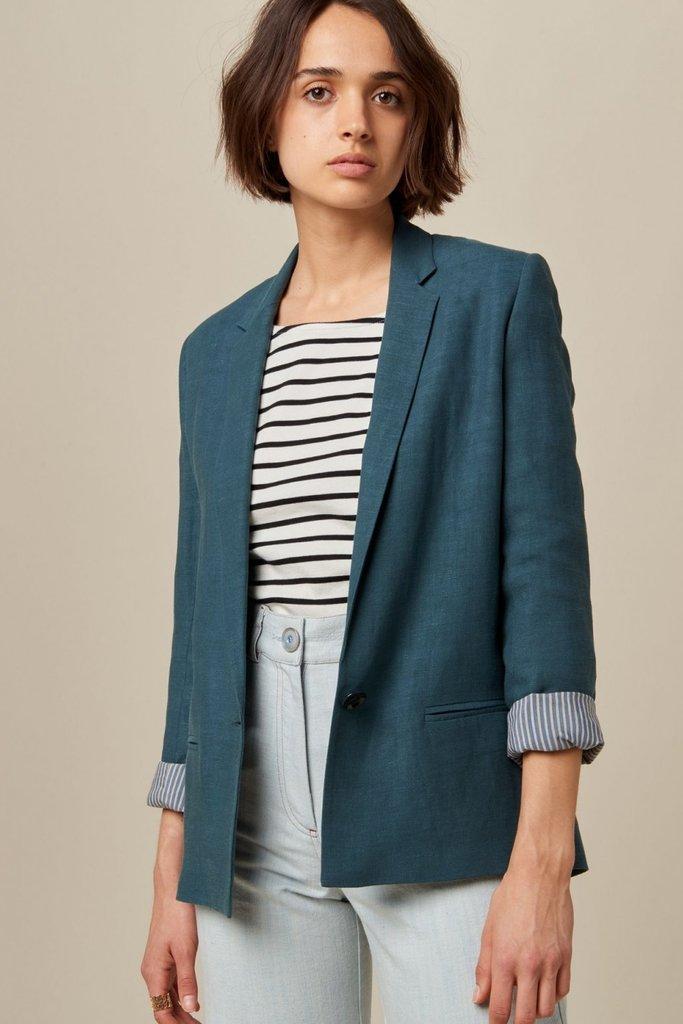 Linen Blend Blazer Jacket