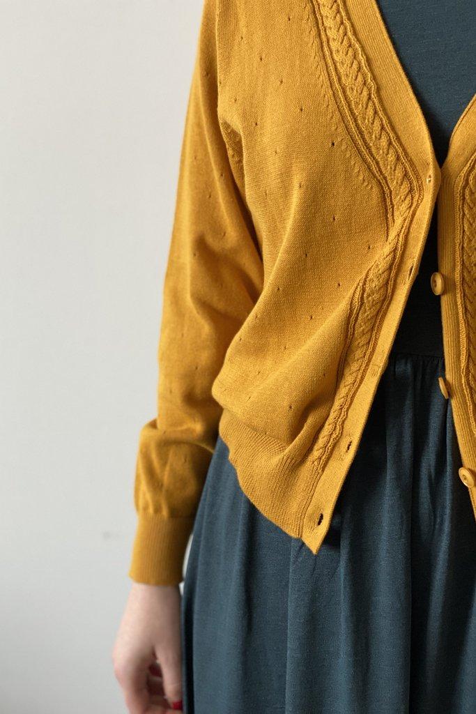 Sessun Saffron Cabled Cotton Cardigan
