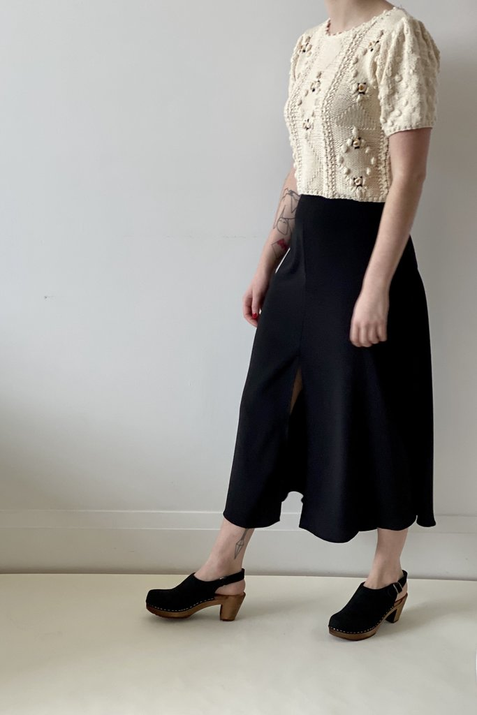 vanessa Bruno High Waisted Midi Skirt with Front Slit in Black
