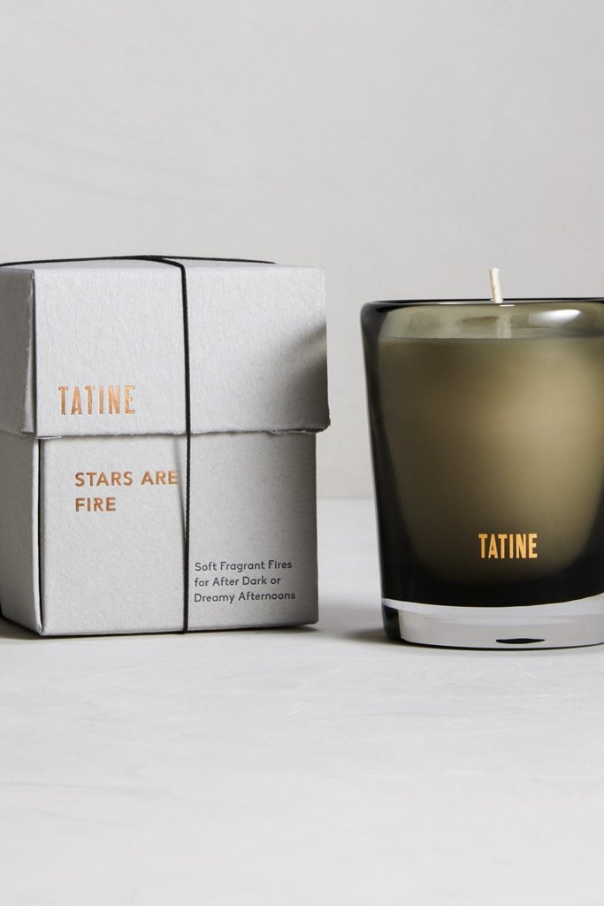 Tatine 8oz Soy Wax Candles in Handmade Grey Glass- Multiple Scents