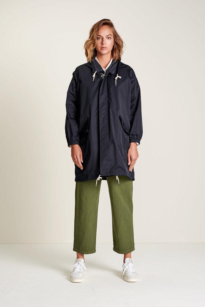 Bellerose Navy Hooded Rain Jacket with Zipper