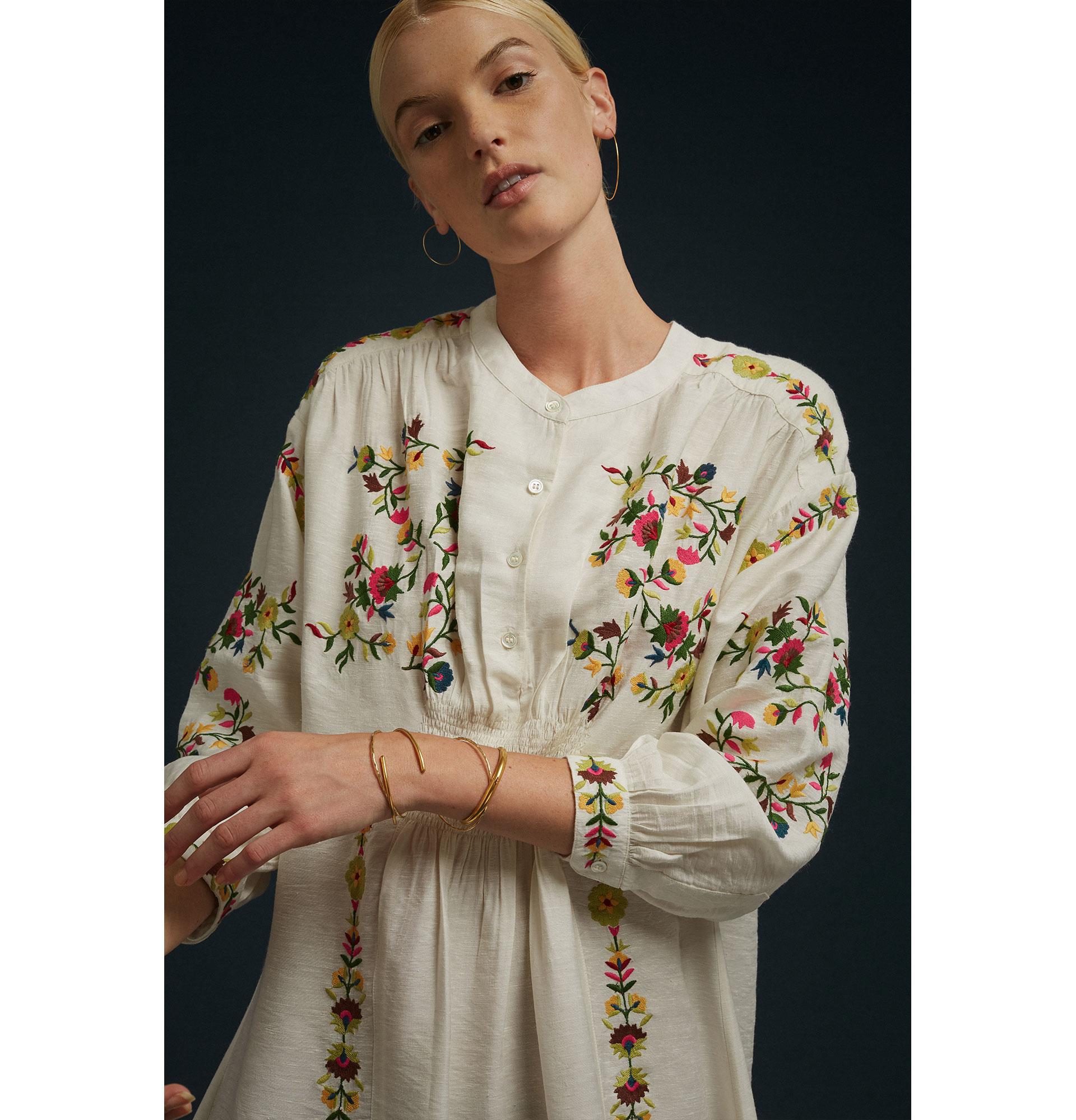 Soeur Soeur Long Off-White Embroidered Cotton Dress