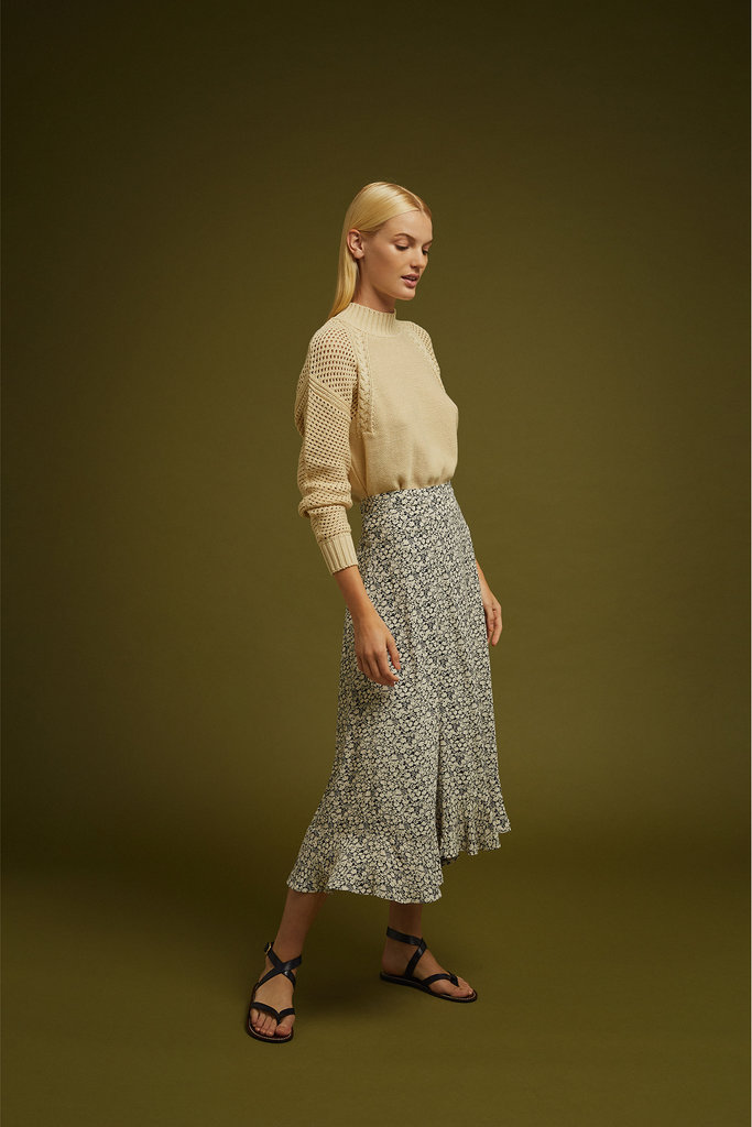 Soeur Soeur Long Flare Skirt with Flounces