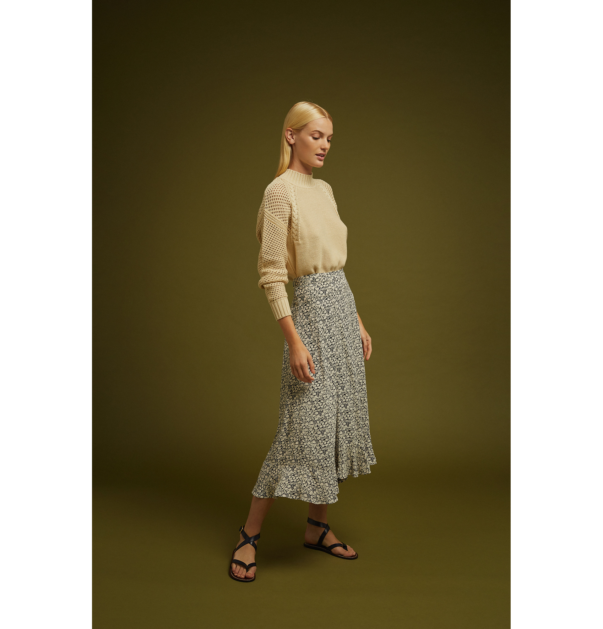 Soeur Long Flare Skirt with Flounces