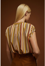 Soeur Cap Sleeve Vertical Striped Blouse